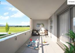 Terrassen-Ansicht Top 49, Haus E